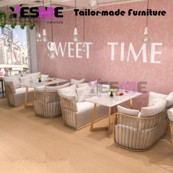 Most Popular Modern Plated Metal Coffee Shop Restaurant Furniture Dining Table Set Sofa Set