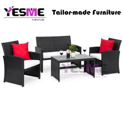 Outdoor Garden Hotel Cafe Rattan Table and Chair Sofa Set Furniture