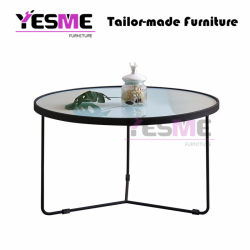 Living Room Outdoor Modern Metal Frame Tempered Glass Coffee Table