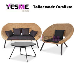 Foshan Garden Furniture Modern Outdoor Sofa Lounge Rope Rattan Wicker Patio Garden Sofa