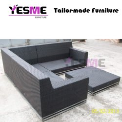 Garden Outdoor Furniture Hotel Poolside Wicker Lounge Rattan Sofa