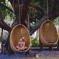 Rattan Wicker Egg Hammock Chair with Hanging Kits, Weather Fastness Hanging Chair with Comfortable Brown Cushion and Pillow