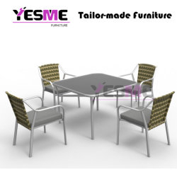 Garden Restaurant Outdoor Furniture Cafe Aluminum Polywood Chair Table Set