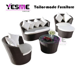 New Design Synthetic Rattan Round Outdoor Furniture Sofa for Garden & Hotel