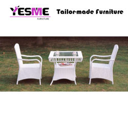 Modern White Garden Rattan Dining Set Outdoor Furniture Table Chairs