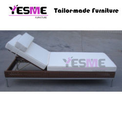 Outdoor Beach Garden Sun Loungers Daybed Metal Base Rattan Furniture