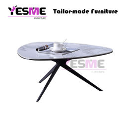 Metal Dining Room Outdoor Furniture Marble Base Stainless Steel Side End Coffee Table