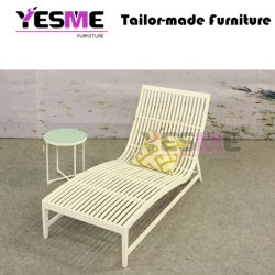Outdoor Aluminum Sunbed Garden Aluminum Slat Sunlounger Pool Daybed with Aluminum Table / Modern Daybed Patio Furniture