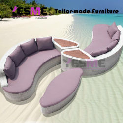 Half Moon Outdoor Furniture Curved Patio Wicker Outdoor Rattan Sofa