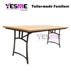 Outdoor Furniture Garden Family Living Room Resort Hotel Casual Modern Wooden Metal Frame Table