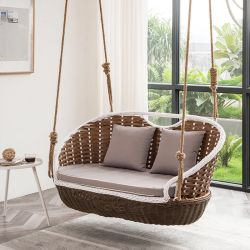 Wicker Rattan Outdoor Patio Swing with Hanging Steel Chain, Swing Chair Without Stand, White