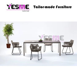 Chinese Modern Outdoor Furniture Leisure Garden Furniture Hotel Living Area Rattan Rope Polywood Textilene Sling Chair Ceramic Table Dining Set